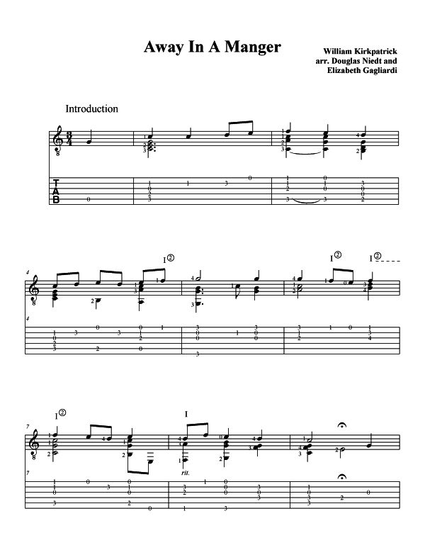 Christmas Sheet Music For Guitar Away In a Manger p1