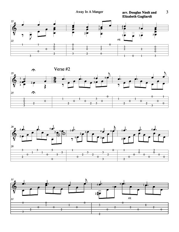 Christmas Sheet Music For Guitar Away In a Manger p3