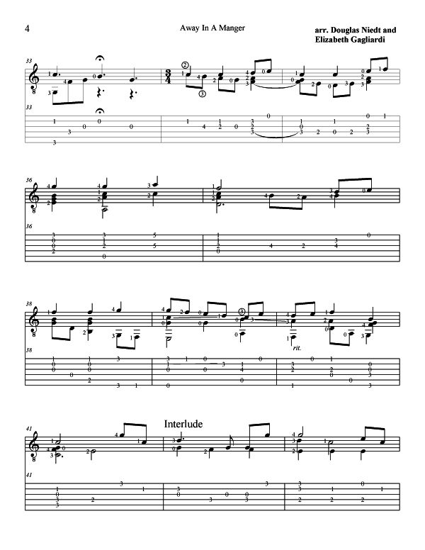 Christmas Sheet Music For Guitar Away In a Manger p4