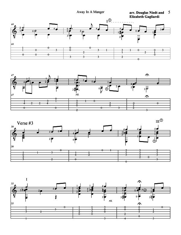 Christmas Sheet Music For Guitar Away In a Manger p5