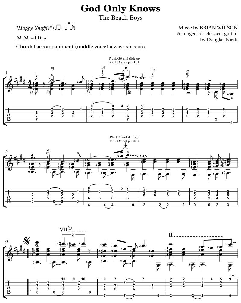 God Only Knows Advanced Version, Standard Notation Plus Tab Douglas Niedt