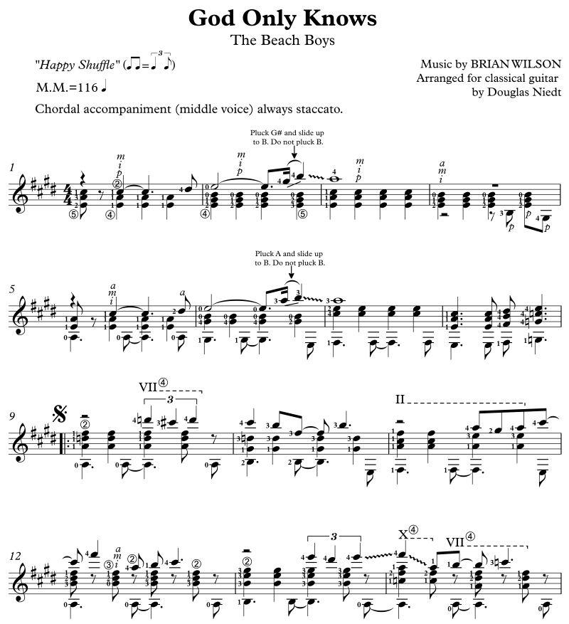 God Only Knows Advanced Version, Standard Notation Douglas Niedt