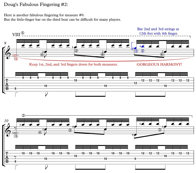 Recuerdos de la Alhambra Doug's Fabulous Fingering No. 2, measure 9