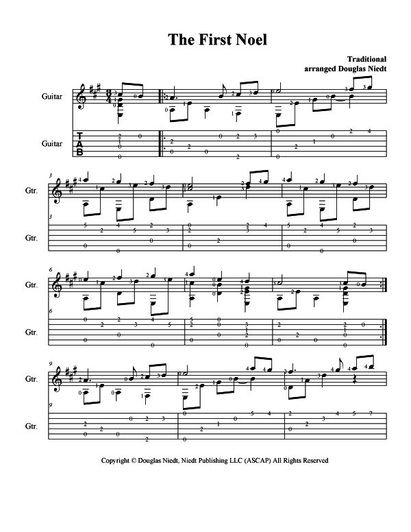 Christmas Sheet Music for Guitar, The First Noel, p1