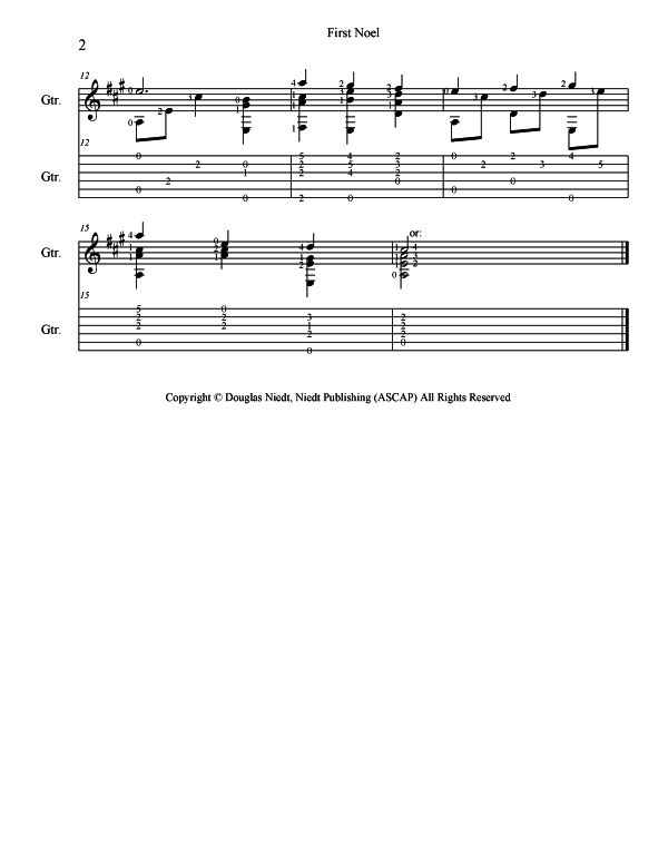 Christmas Sheet Music for Guitar, The First Noel, p2
