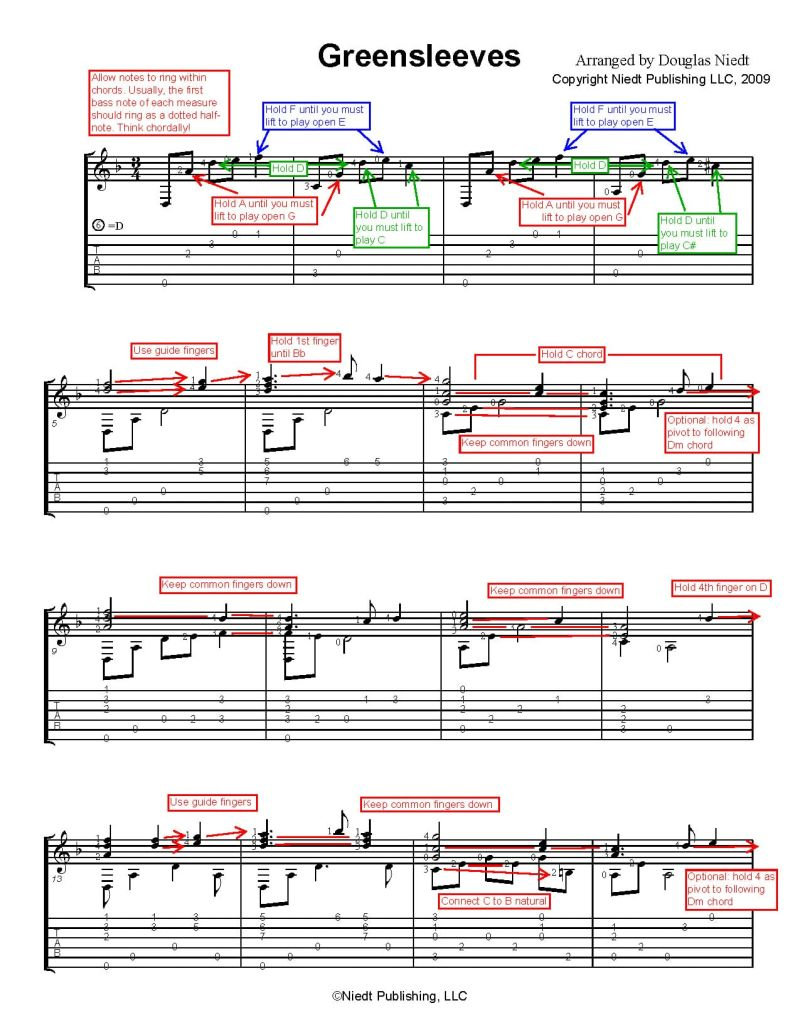 Christmas Sheet Music for Guitar. Greensleeves, annotated p1