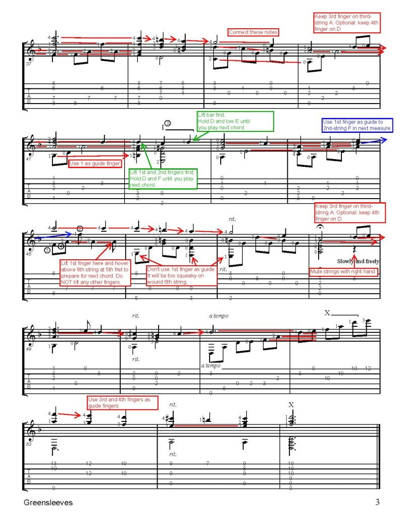 Christmas Sheet Music for Guitar. Greensleeves, annotated p3