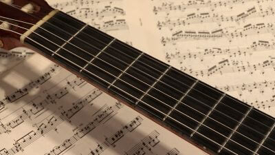 Guitar fretboard with sheet music