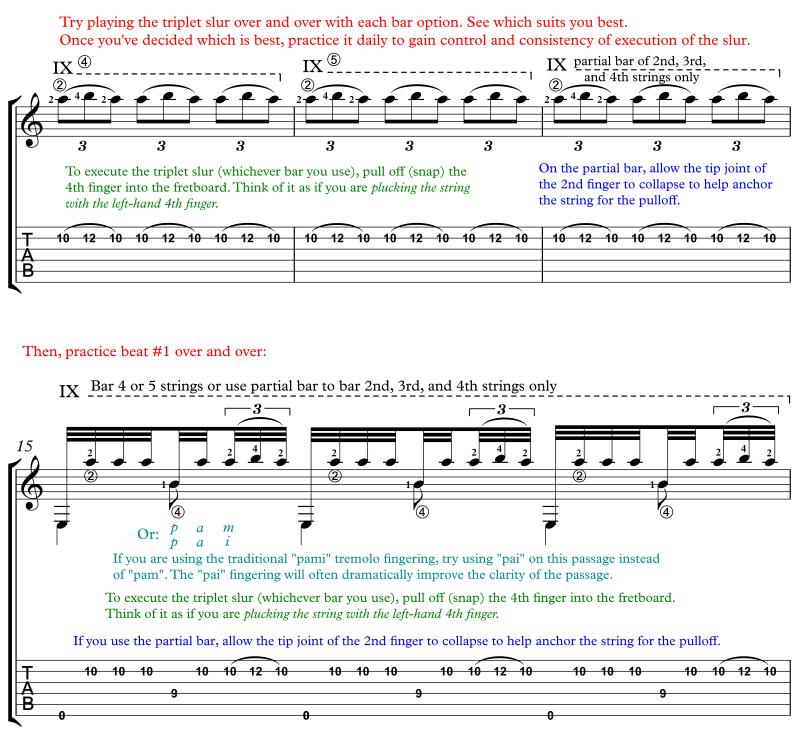 Recuerdos de la Alhambra annotated score for classical guitar slur examples