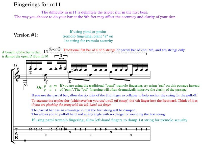 Recuerdos de la Alhambra annotated score for classical guitar excerpt #2