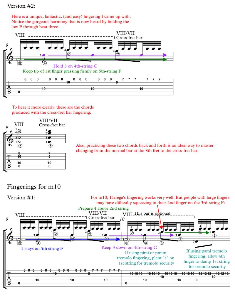 Recuerdos de la Alhambra annotated score for classical guitar