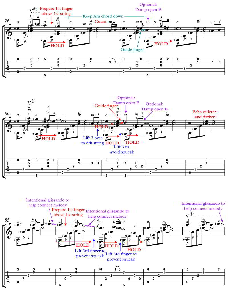 Skellig for classical guitar annotated score standard notation and tab