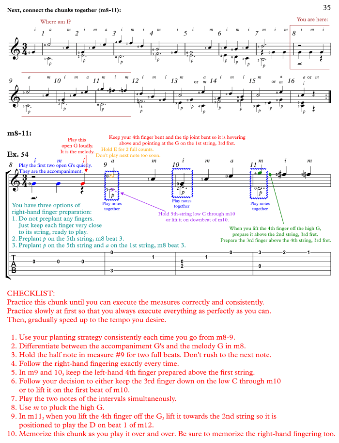 Annotated Score, Sor Lesson #1