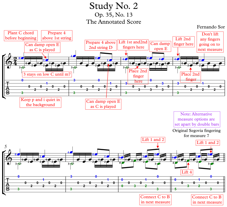 Sor Study No. 2 Annotated Score