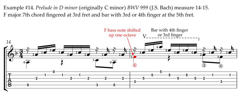 Bach Prelude in D minor alternative easier revised fingering bass on 4th string 4th finger bar measure 12-17