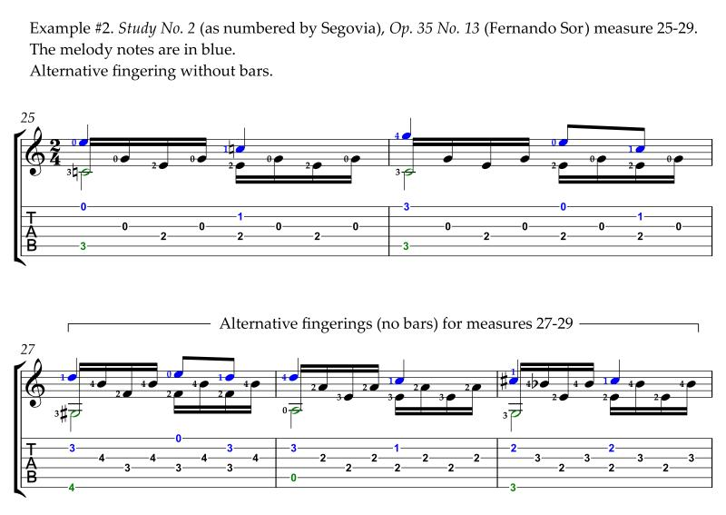 Sor Study No. 2 Op. 35 No. 13 revised alternative easier fingering