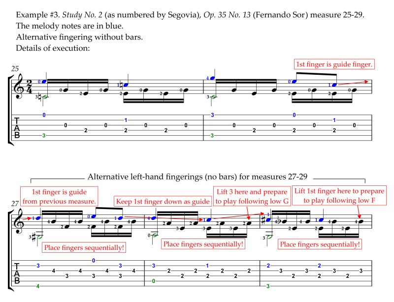 Sor Study No. 2 Op. 35 No. 13 annotated revised alternative easier fingering