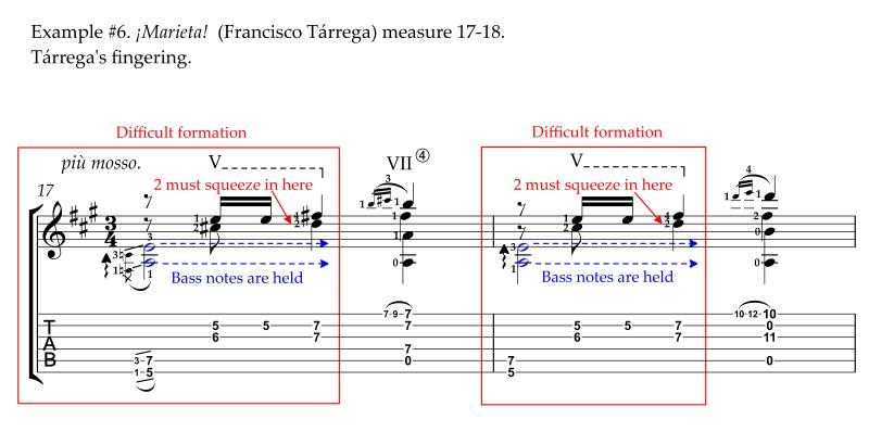 Marieta by Francisco Tarrega original fingerings measure 17-18