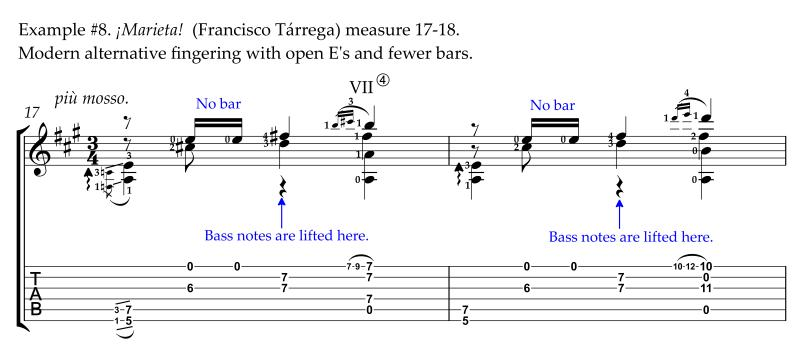 Marieta by Francisco Tarrega modern alternative revised easier fingerings with open E's no bars measure 17-18