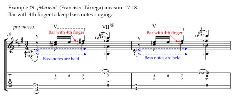 Marieta by Francisco Tarrega modern alternative revised easier fingerings with little finger bar measure 17-18