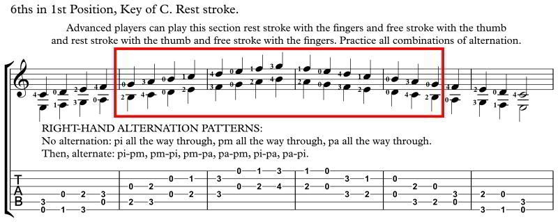 practicing intervals, intervals of a 6th with rest stroke