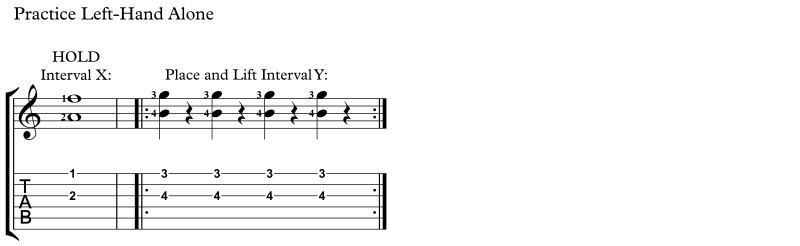 practicing difficult interval change, step 1