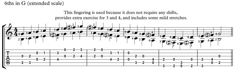practicing intervals, 6ths key of G extended