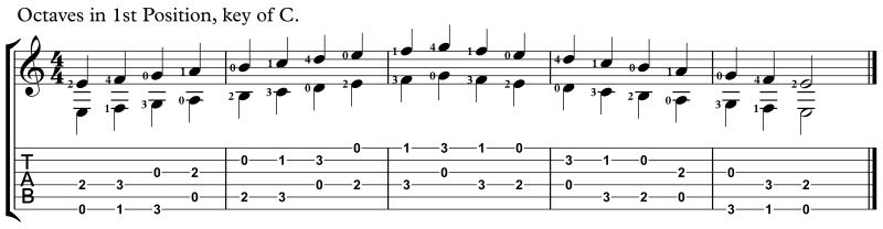 practicing intervals, octaves key of C