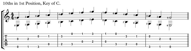 practicing intervals, 10ths key of C