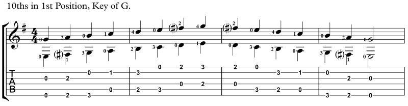 practicing intervals, 10ths key of G