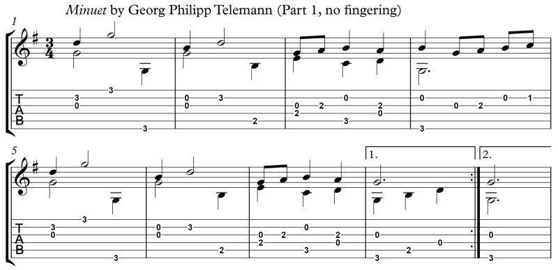 Minuet Telemann Part 1 no fingering Principle of Left-Hand Fingering