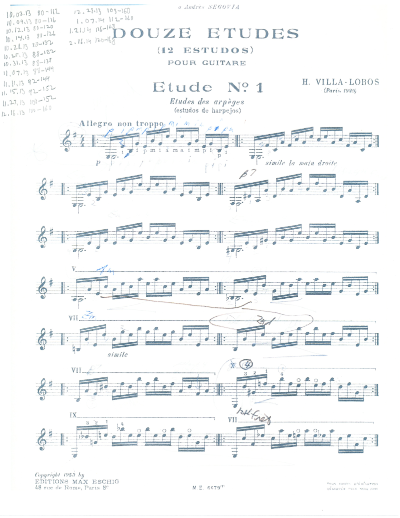 Villa-Lobos Etude 1 with metronome markings