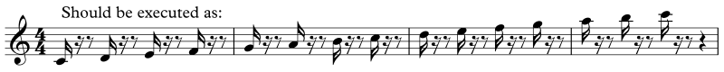 Execution of pikes or wedges staccato notation