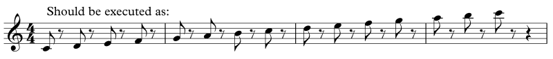 Execution of standard staccato notation