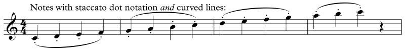 Dots with curved lines staccato notation