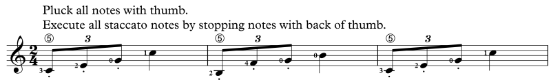 Staccato with back of thumb