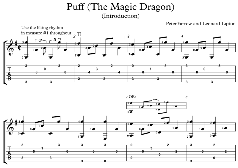 Magnificent Guitar Chords For Puff The Magic Dragon Ornament ...