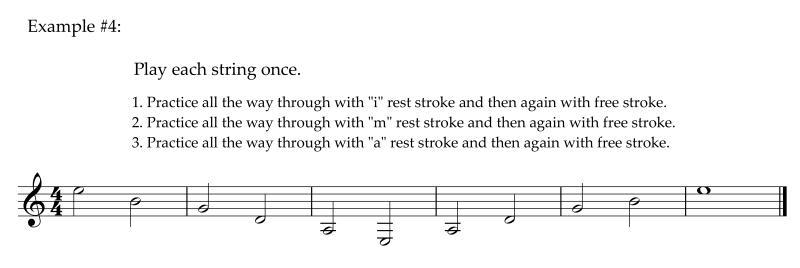 TECHNIQUES et MUSIQUES, IMPROVISATION pour GUITARE. 5 doigts main droite (6, 7 & 8 strings) Example4Singlefingerexerciseplayeachnote1time_800x268