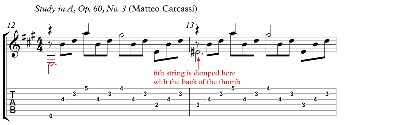 Carcassi damping with back of thumb