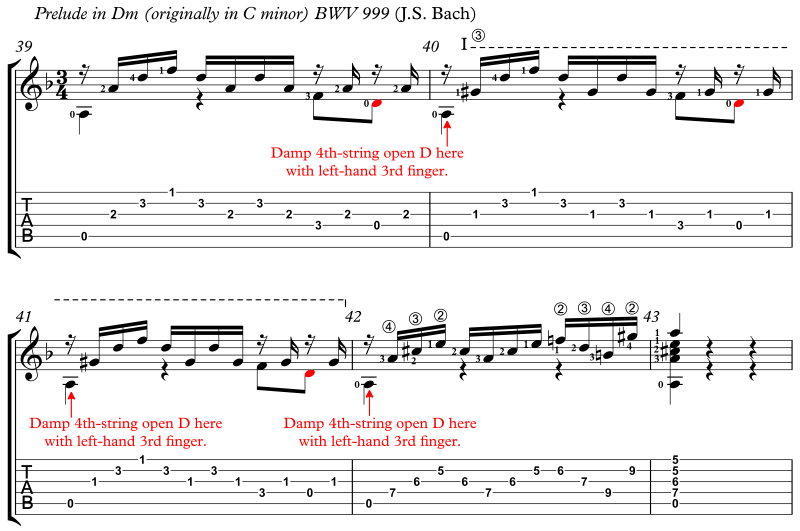 Bach Prelude Dm LH Fingertip Damps