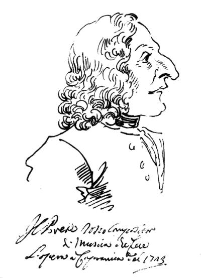 Caricature of Antonio Vivaldi by P. L. Grezzi