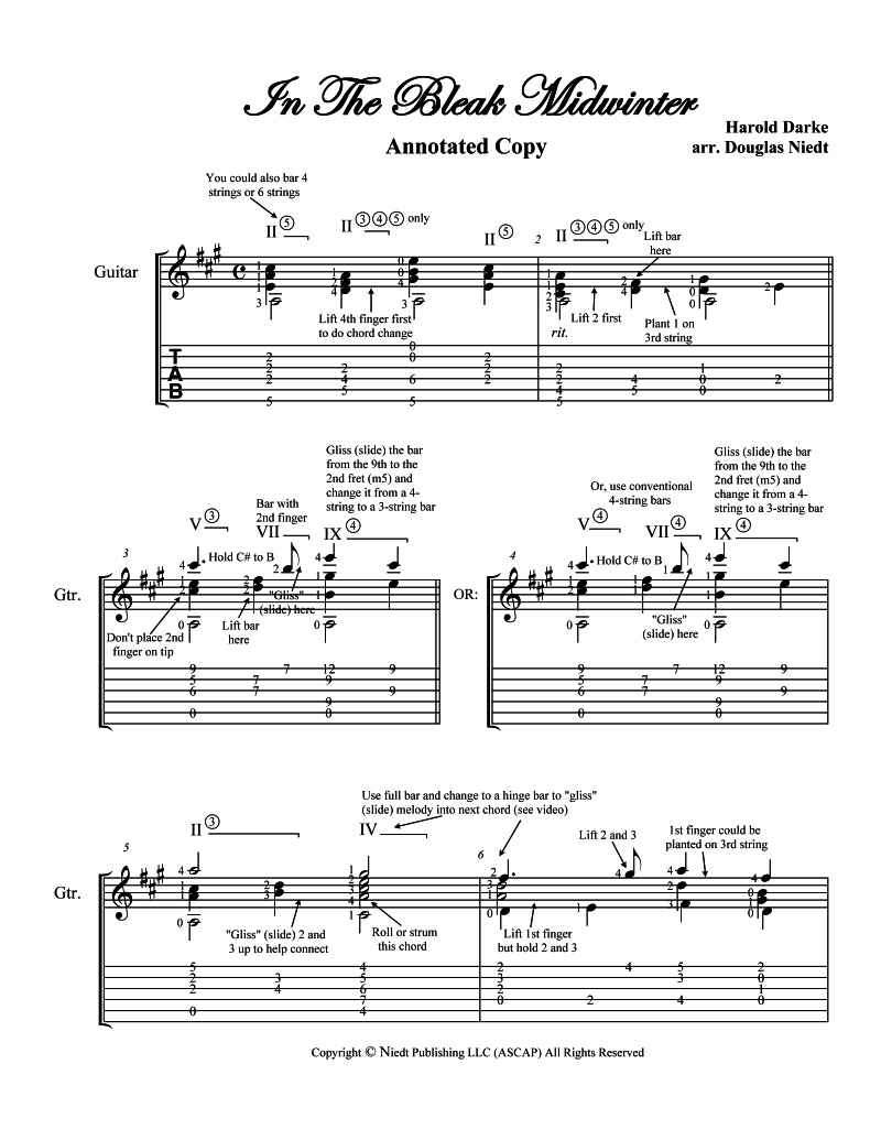 In the Bleak Midwinter Christmas music classical guitar annotated score