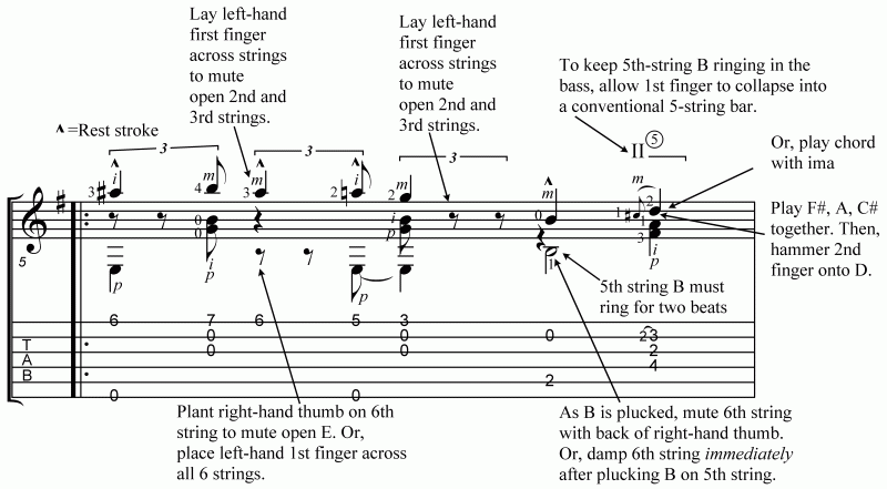 Take Five annotated score, Douglas Niedt Play It Like a Pro for classical guitar Part B