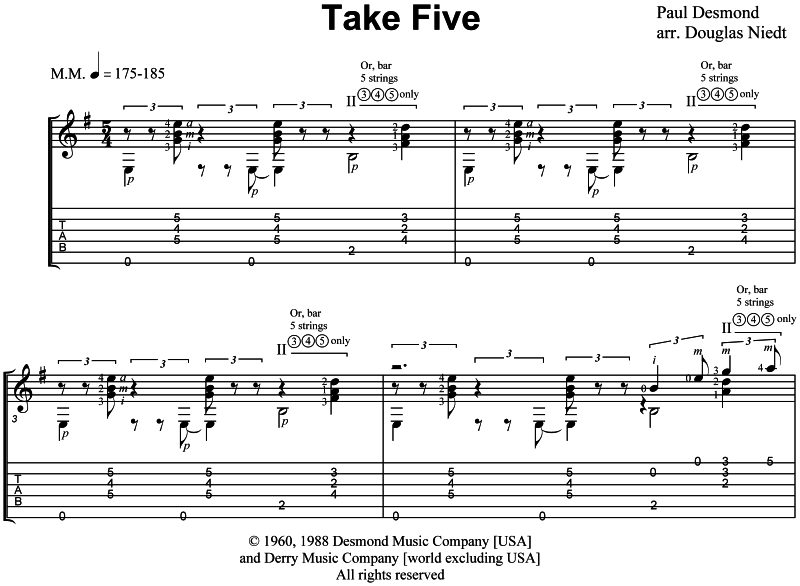Take Five sheet music standard notation and tab excerpt