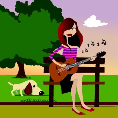 Woman practicing classical guitar